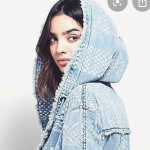 Free People Bleached chambray hooded jacket